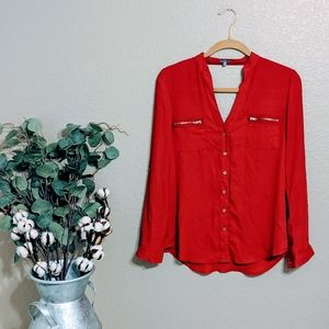 Charlotte Russe Red Vneck Blouse Sz XS